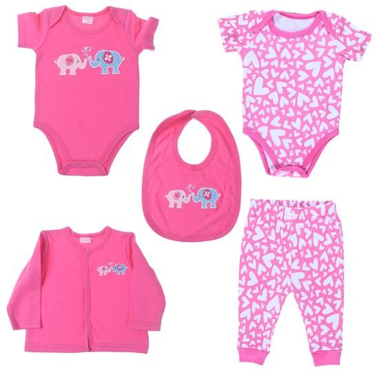Conjunto Roupinhas Para Bebê 5 Peças 0-3 Meses   Rosa - Bene Casa
