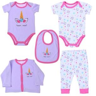 Conjunto Roupinhas Para Bebê 5 Peças 0-3 Meses   Rose - Bene Casa