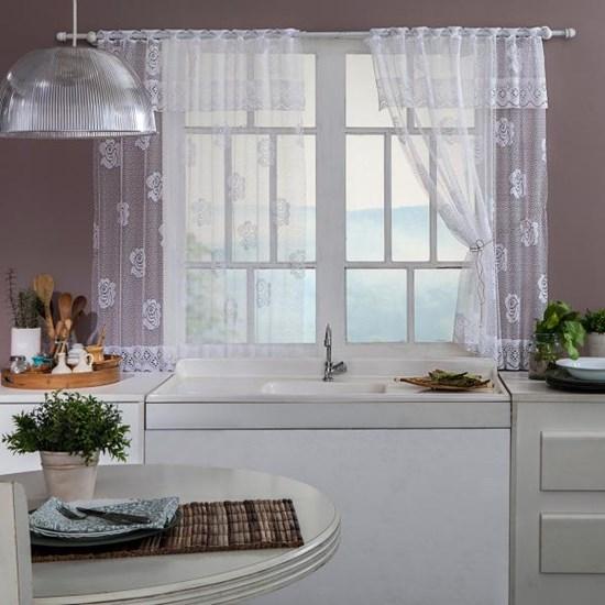 Cortina Cozinha 1,20M X 2,00M Renda Branco - Bene Casa