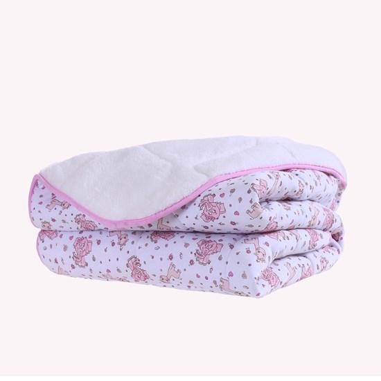 Edredom De Malha E Plush Berço 95Cm X 1,40M Super Macio Baby Rosa - Bene Casa