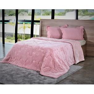 Edredom De Plush King Toque Extra Macio Rosa Quartzo - Bene Casa