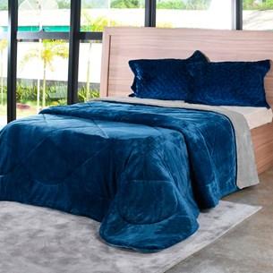 Edredom Plush Bicolor Dupla Face Casal Toque Flannel Azul - Bene Casa