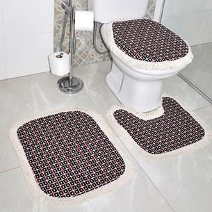 Jogo De Banheiro Barbante 3 Peças Lavavel Em Maquina 100% Algodão Vermelho E Preto - Panosul