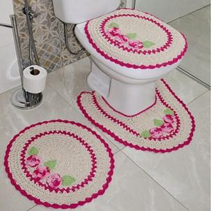 Jogo De Banheiro Croche 3 Peças 100% Algodão Artesanal  3 Rosas Rosa - Panosul