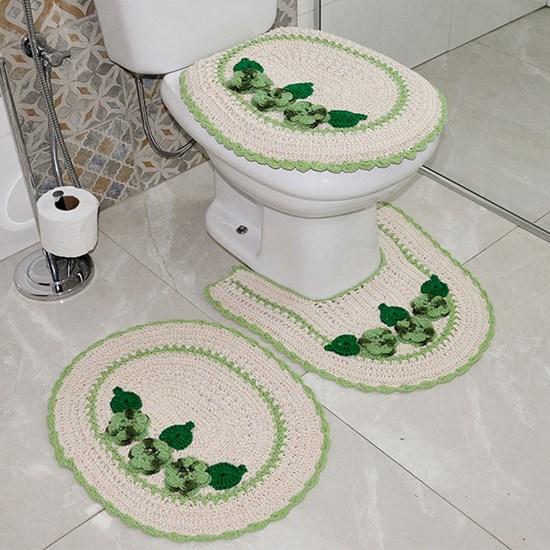 Jogo De Banheiro Croche 3 Peças 100% Algodão Artesanal  3 Rosas Verde - Panosul