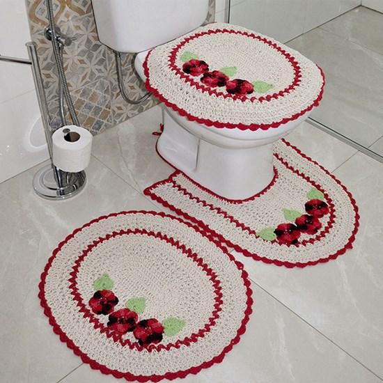 Jogo De Banheiro Croche 3 Peças 100% Algodão Artesanal  3 Rosas Marfim - Panosul