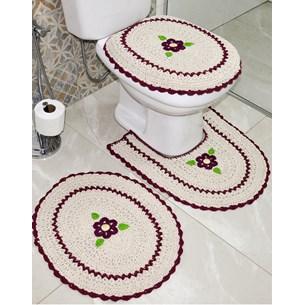 Jogo De Banheiro Crochê   Bordado Inglês Produzido Artesanalmente  Bordo - Bene Casa