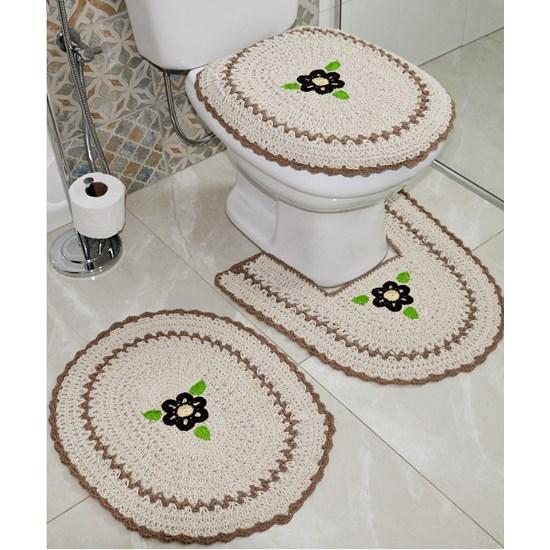 Jogo De Banheiro Crochê   Bordado Inglês Produzido Artesanalmente  Creme - Bene Casa