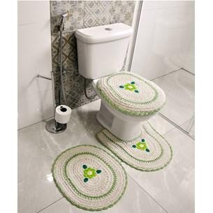Jogo De Banheiro Crochê   Bordado Inglês Produzido Artesanalmente  Verde - Bene Casa