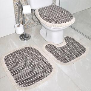 Jogo De Banheiro Marrocos   Antiderrapante 100% Algodão  Azul - Bene Casa