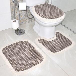 Jogo De Banheiro Marrocos   Antiderrapante 100% Algodão  Marrom - Bene Casa