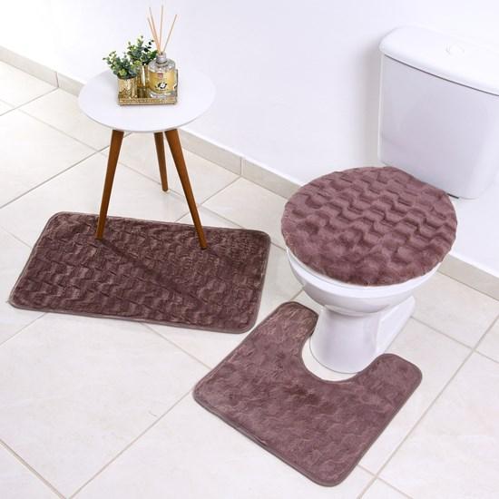 Jogo De Banheiro Soft   3 Peças - Cassia - Bene Casa