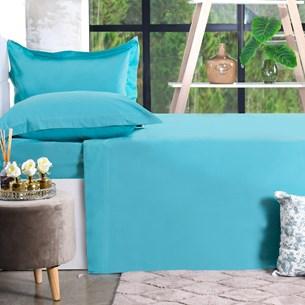 Jogo De Cama 200 Fios 4 Peçs King Percal 100% Algodão Toque Ultra Macio Blue Classe - Bene Casa