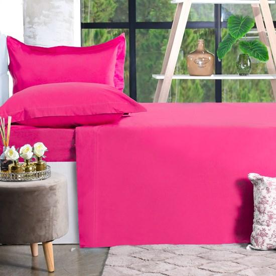 Jogo De Cama 200 Fios Casal Percal 100% Algodão Super Macio Pink Special - Bene Casa