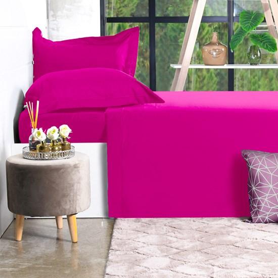 Jogo De Cama 200 Fios Percal Queen 100% Algodão Super Macio Pink - Bene Casa