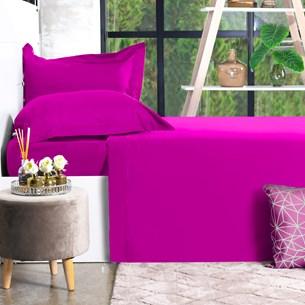 Jogo De Cama 200 Fios Percal Solteiro 100% Algodão Extra Macio Rosa Pink - Bene Casa
