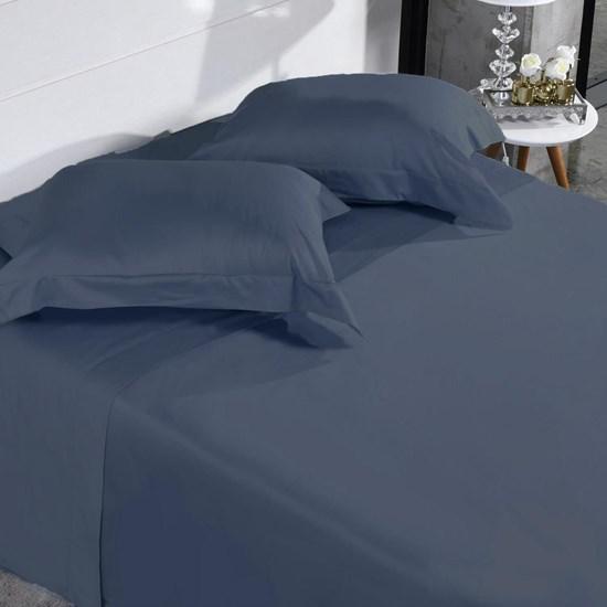Jogo De Cama 300 Fios 100% Algodão Queen Penteado Extra Macio Azul Dark - Tessi