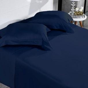 Jogo De Cama 300 Fios 100% Algodão Queen Penteado Extra Macio Azul Infinity - Tessi