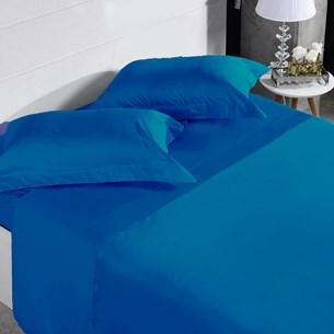 Jogo De Cama 300 Fios Casal 100% Algodão Penteado Azul Infinity - Tessi
