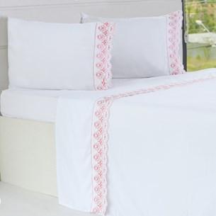 Jogo De Cama Casal Detalhes Em Borbado Ingês Branco Com Rosa - Bene Casa