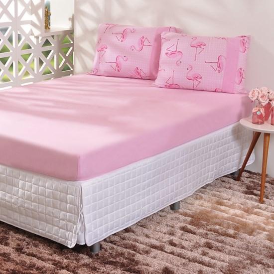Jogo De Cama Infantil Casal Malha 100% Algodão Flamingo - Bene Casa