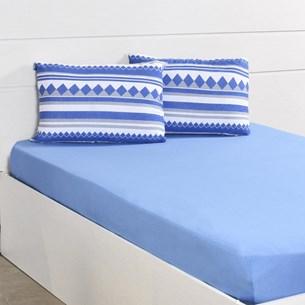 Jogo De Cama Malha King 100% Algodão Fio 30/1 Com Elástico Azul - Bene Casa