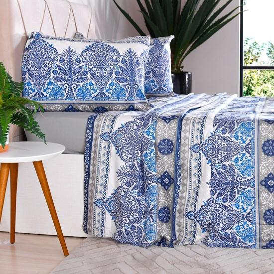 Jogo De Cama Queen 150 Fios Toque Macio 165G/M² Azul Cristal - Panosul
