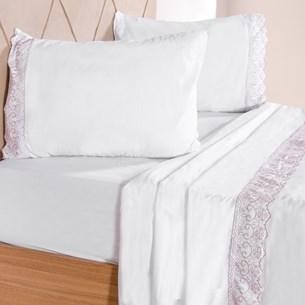 Jogo De Cama Queen 4 Peças Broderie Toque Macio Com Bordado Ingles Branco Com Mauve - Bene Casa