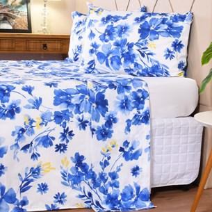 Jogo De Cama Queen Toque Macio + Sacolinha De Brinde Cotton Touch Blue - Bene Casa