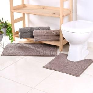 Jogo De Tapete Banheiro Popcorn   Antiderrapante Lávavel Na Maquina Taupe - Bene Casa