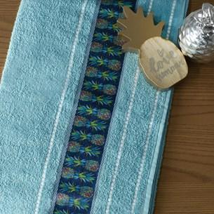 Jogo De Toalha Banho E Rosto Algodão Excelente Absorção Azul Infinity - Bene Casa