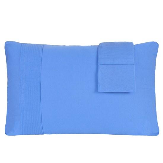 Kit 02 Fronhas 50Cm  X 70Cm De Malha 100% Algodão Azul - Bene Casa