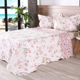 Kit 1 Cobre Leito Casal + 2 Porta Travesseiro Bouti Rolinho  Floral - Bene Casa