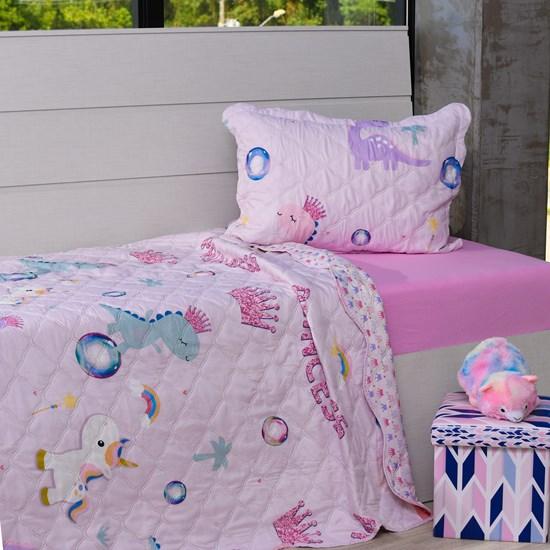 Kit 1 Cobre Leito Casal 2 Porta Travesseiro Bouti Sonho De Princesa - Bene Casa