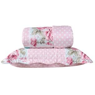 Kit 1 Cobre Leito Casal + Porta Travesseiros Amore Rosa - Bene Casa