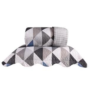 Kit 1 Cobre Leito King + 2 Porta Travesseiro Bouti Rolinho  Geometric - Bene Casa