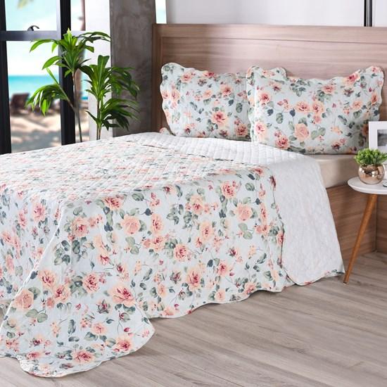 Kit 1 Cobre Leito King + Porta Travesseiros Bouti Ultrassonic Rolinho Tropicale - Bene Casa