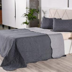 Kit 1 Cobre Leito + Porta Travesseiros Casal Rolinho Liso Grey Classe - Bene Casa