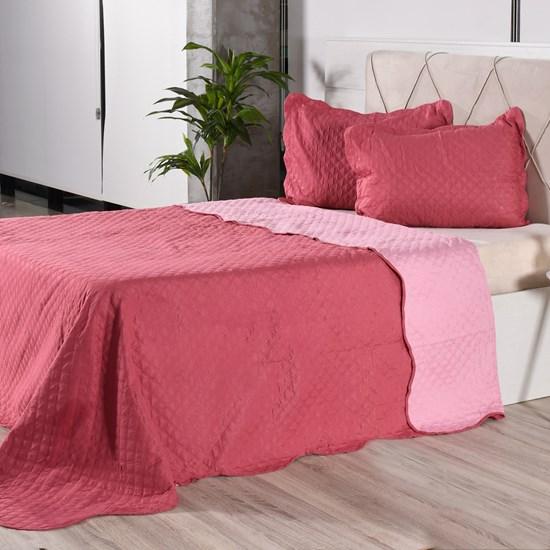 Kit 1 Cobre Leito + Porta Travesseiros Casal Rolinho Liso Pink Classe - Bene Casa