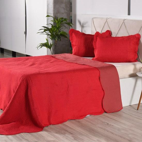 Kit 1 Cobre Leito + Porta Travesseiros Casal Rolinho Liso Red Classe - Bene Casa