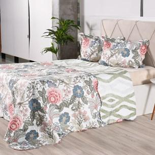 Kit 1 Cobre Leito + Porta Travesseiros Casal Ultra Lisse Rolinho Floratta Classe - Bene Casa