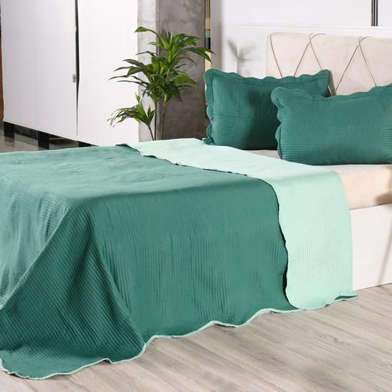 Kit 1 Cobre Leito + Porta Travesseiros King Rolinho Liso Green Classe - Bene Casa