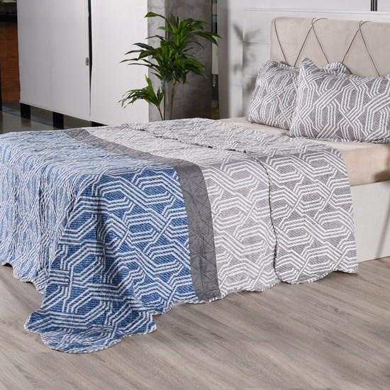Kit 1 Cobre Leito + Porta Travesseiros King Ultra Lisse Rolinho Geometric Classe - Bene Casa