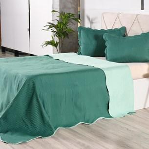 Kit 1 Cobre Leito + Porta Travesseiros Queen Rolinho Liso Green Classe - Bene Casa