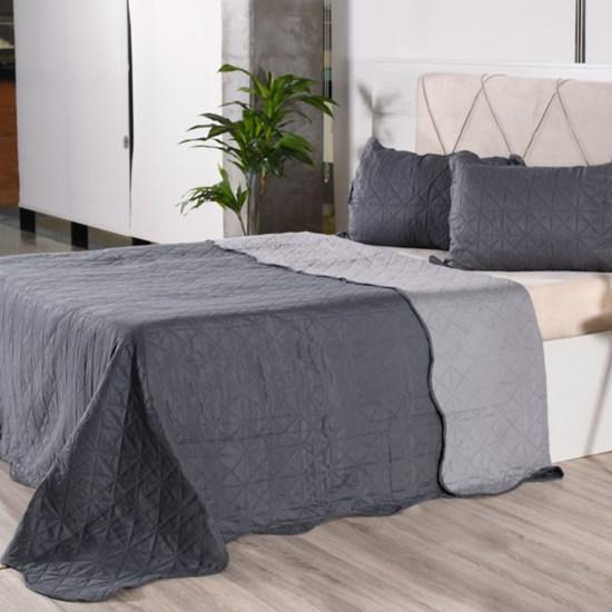 Kit 1 Cobre Leito + Porta Travesseiros Queen Rolinho Liso Grey Classe - Bene Casa