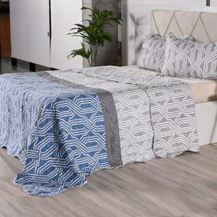 Kit 1 Cobre Leito + Porta Travesseiros Queen Ultra Lisse Rolinho Geometric Classe - Bene Casa