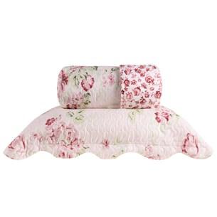 Kit 1 Cobre Leito Queen + 2 Porta Travesseiro Bouti Rolinho  Floral - Bene Casa