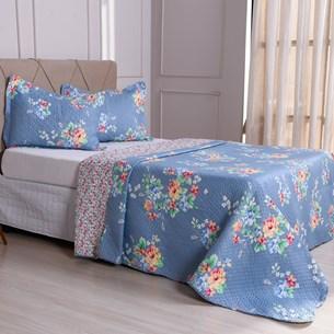 Kit 1 Cobre Leito Queen + Porta Travesseiros Bouti Ultrassonic Rolinho Florale - Bene Casa