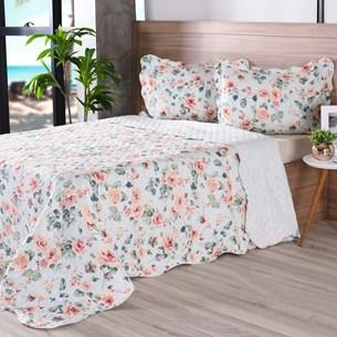 Kit 1 Cobre Leito Queen + Porta Travesseiros Bouti Ultrassonic Rolinho Tropicale - Bene Casa