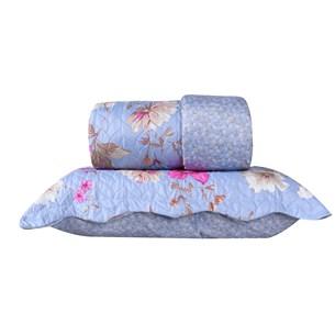 Kit 1 Cobre Leito Queen + Porta Travesseiros Turquesa - Bene Casa